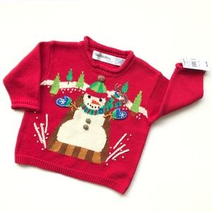 Flapdoodles Embroidered Snowman Knit Sweater Top